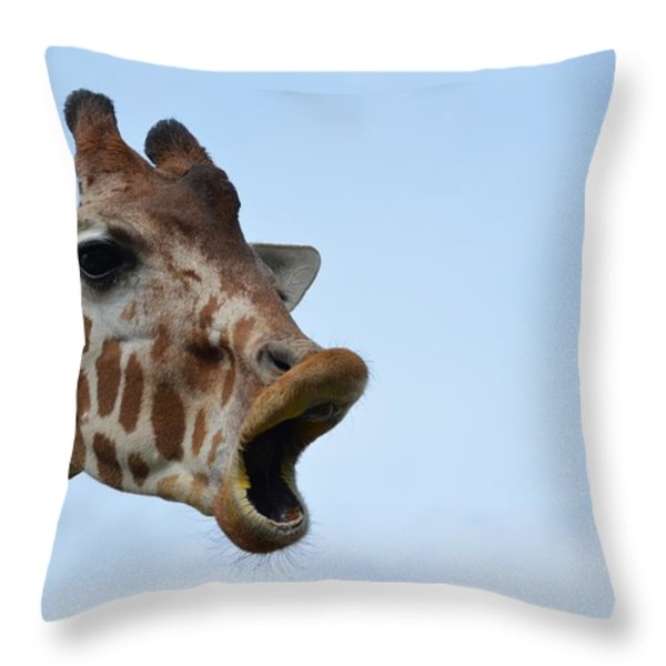 Zootography Giraffe Honking Throw Pillow by Jeff at JSJ Photography