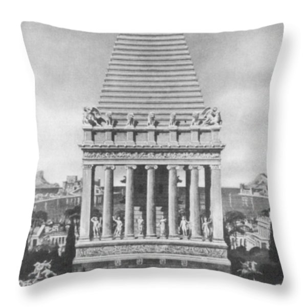 7 Wonders Of The World, Mausoleum Throw Pillow by Photo Researchers