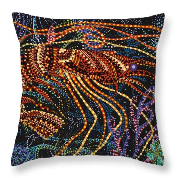 A Shrimp Throw Pillow by Erika Pochybova