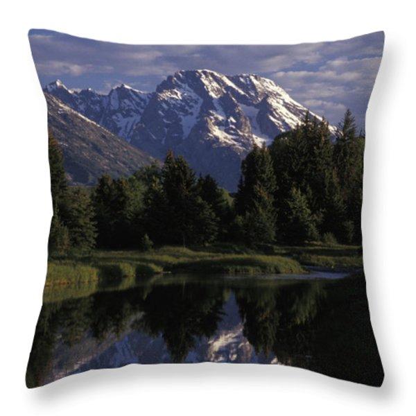 Reflection Of The Teton Mountans Throw Pillow by Richard Nowitz