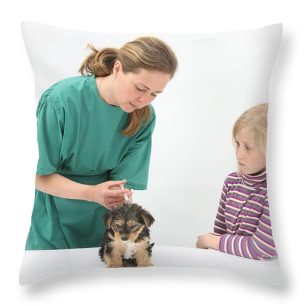 Vet Giving Pup Its Primary Vaccination Throw Pillow by Mark Taylor