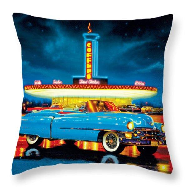 Cadillac Diner Throw Pillow by MGL Studio - Chris Hiett