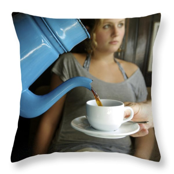 Coffee Being Served In Throw Pillow by Sisse Brimberg & Cotton Coulson, KEENPRESS