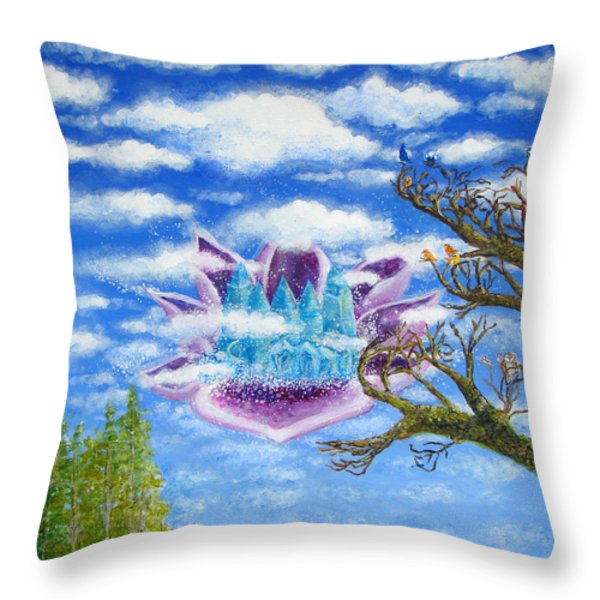 Crystal Hermitage Castle In The Clouds Throw Pillow by Ashleigh Dyan Bayer