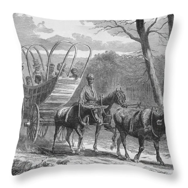 Federal Camp Contraband, 19th Century Throw Pillow by Photo Researchers
