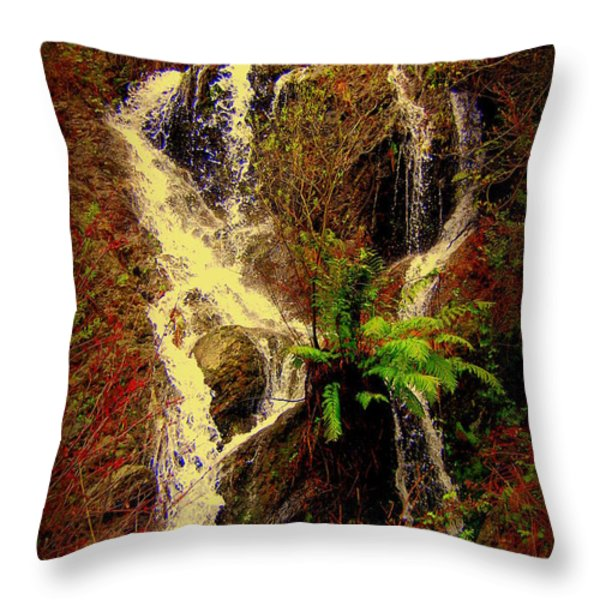 Lake Shasta Waterfall 3 Throw Pillow by Garnett  Jaeger