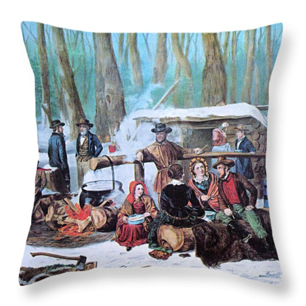 Maple Sugaring, 1872 Throw Pillow by Photo Researchers