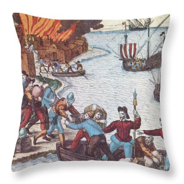 Pirates Burn Havana, 1555 Throw Pillow by Photo Researchers