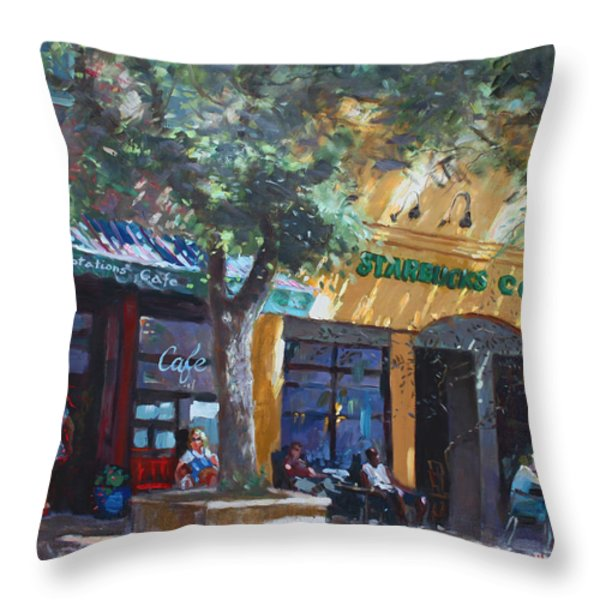 Starbucks Hangout Throw Pillow by Ylli Haruni