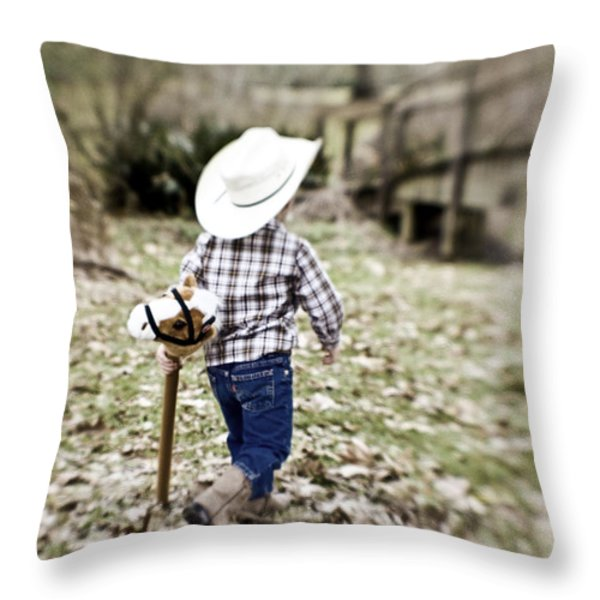 A Boy And His Horse Throw Pillow by Scott Pellegrin