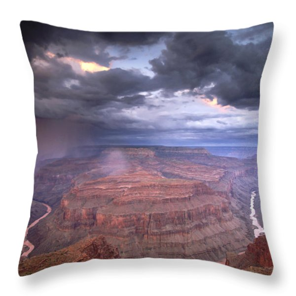 A Monsoon Storm In The Grand Canyon Throw Pillow by David Edwards