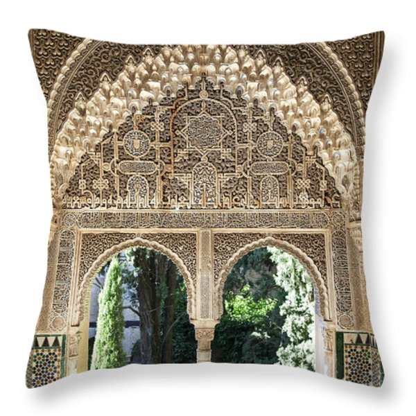 Alhambra windows Throw Pillow by Jane Rix