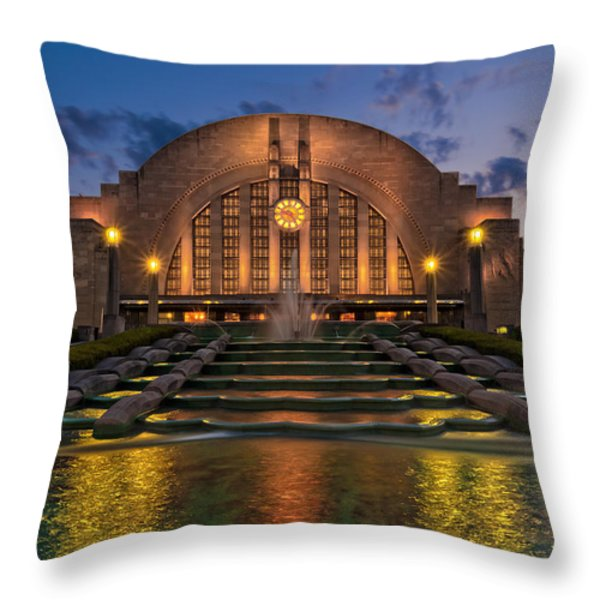 Cincinnati Museum Center At Twilight Throw Pillow by Keith Allen