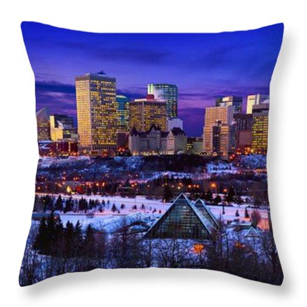 Edmonton Winter Skyline Throw Pillow by Corey Hochachka