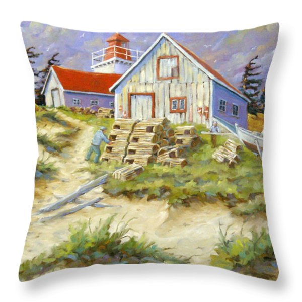 End Of Lobster Season Throw Pillow by Richard T Pranke