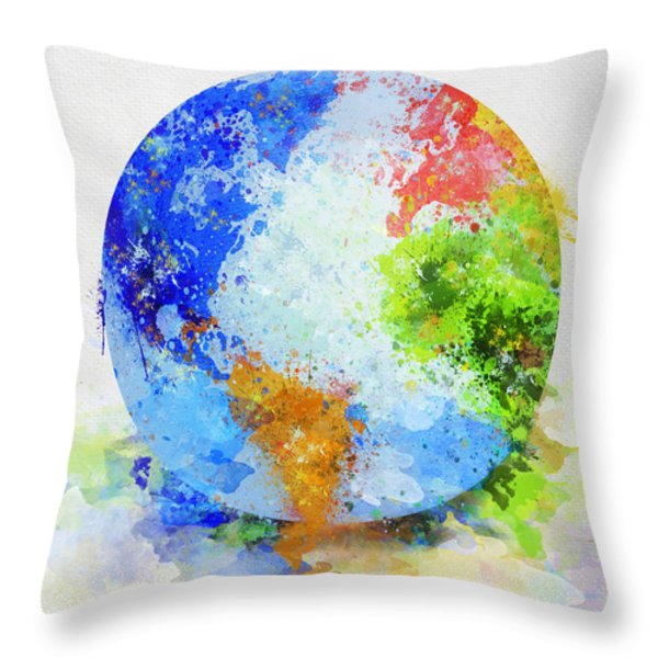 Globe Painting Throw Pillow by Setsiri Silapasuwanchai