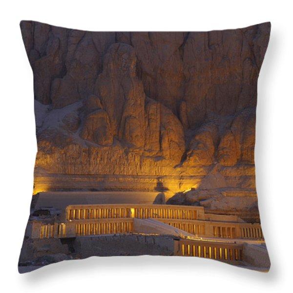 Hatshepsuts Mortuary Temple Rises Throw Pillow by Kenneth Garrett