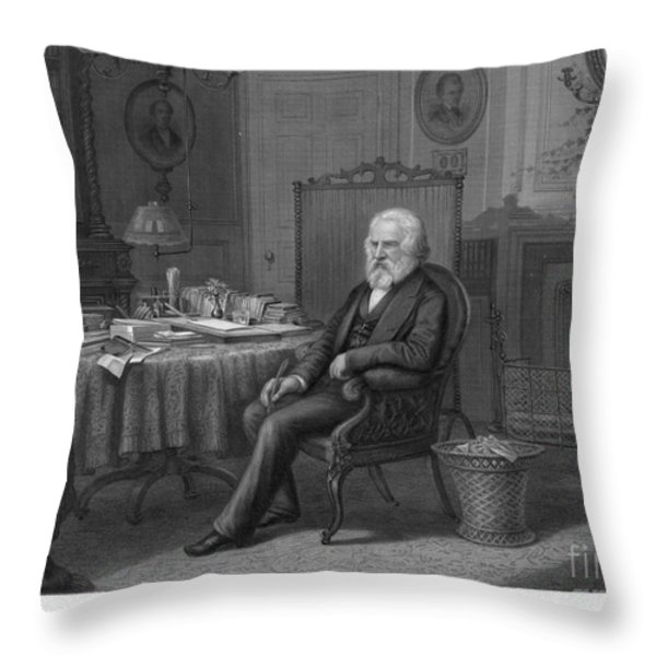 Henry Wadsworth Longfellow Throw Pillow by Granger