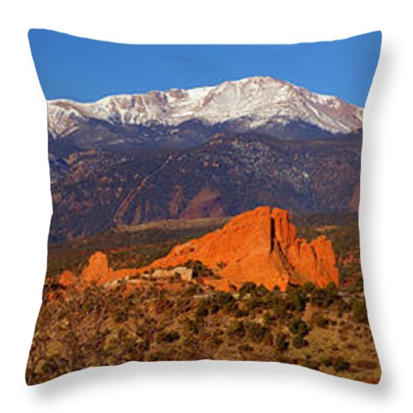 Pike's Peak And Garden Of The Gods Throw Pillow by Jon Holiday