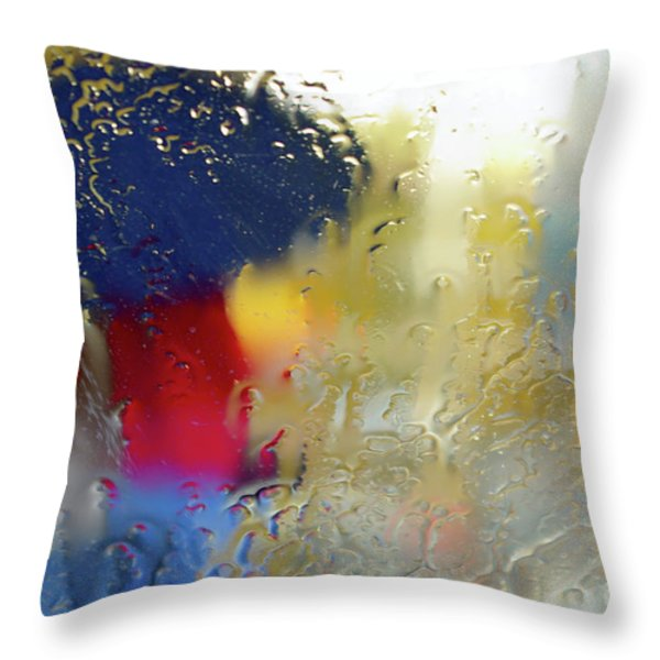 Silhouette In The Rain Throw Pillow by Carlos Caetano