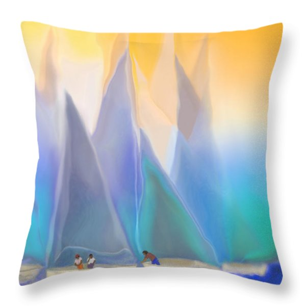 Smooth Sailing Throw Pillow by Mathilde Vhargon