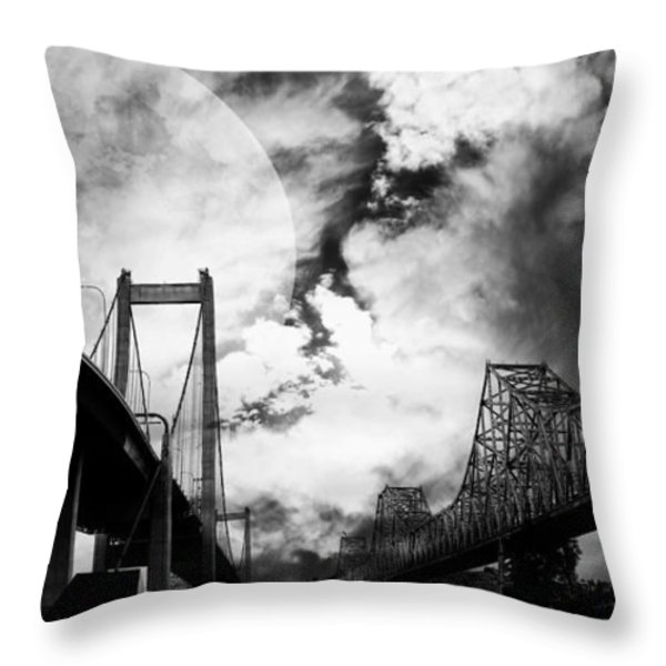 Two Bridges One Moon Throw Pillow by Wingsdomain Art and Photography