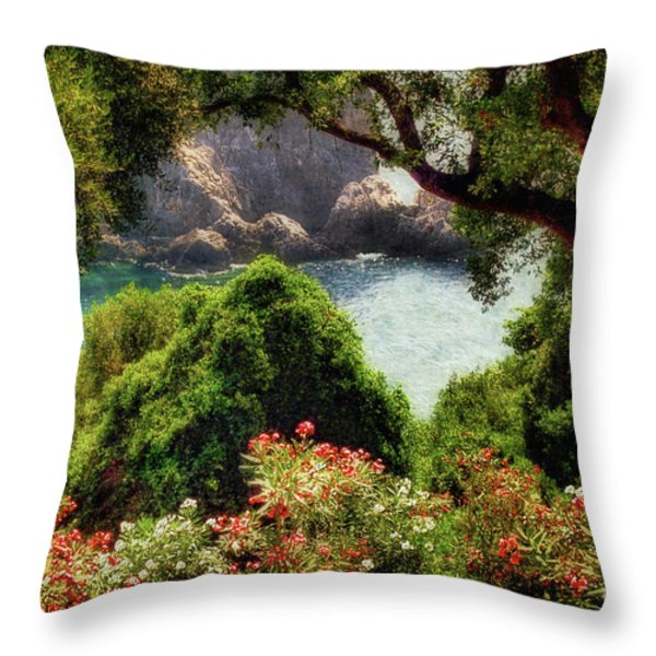 View From The Terrace - Paleokastritsa Throw Pillow by Lois Bryan