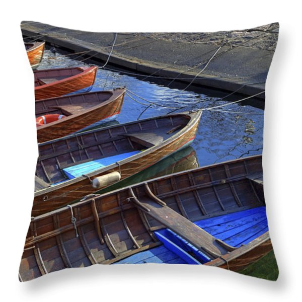 Wooden Boats Throw Pillow by Joana Kruse