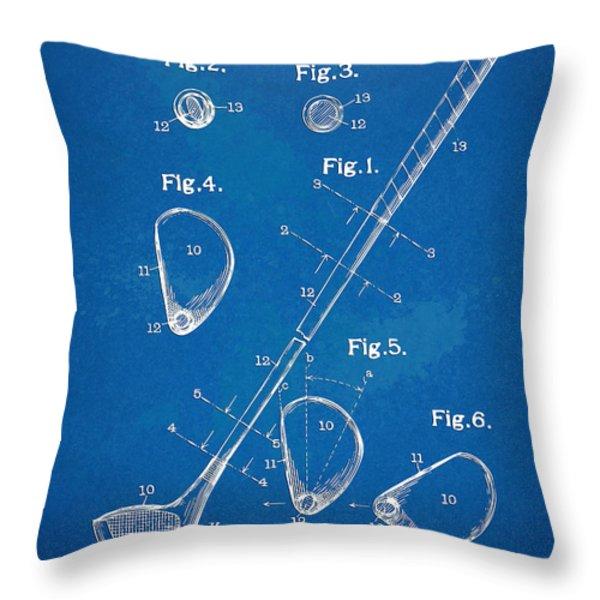 1910 Golf Club Patent Artwork Throw Pillow by Nikki Marie Smith