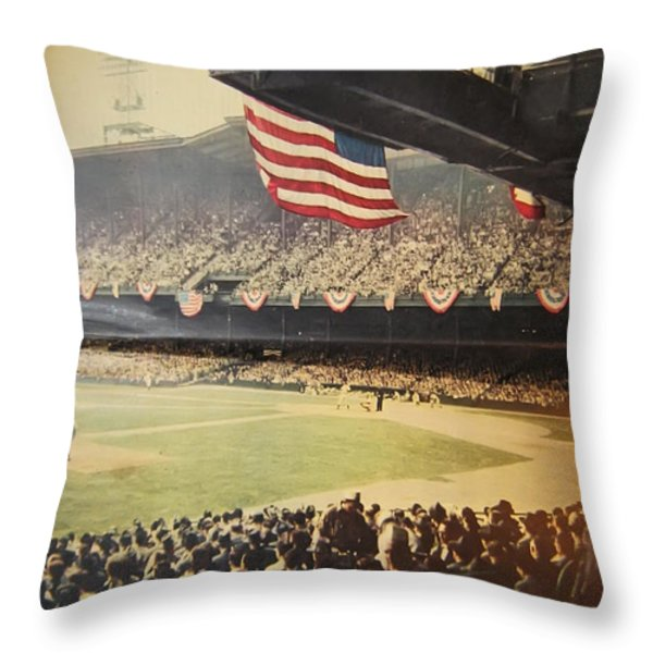 1950 Phillies Vs Yankees World Series Guide Throw Pillow by Bill Cannon