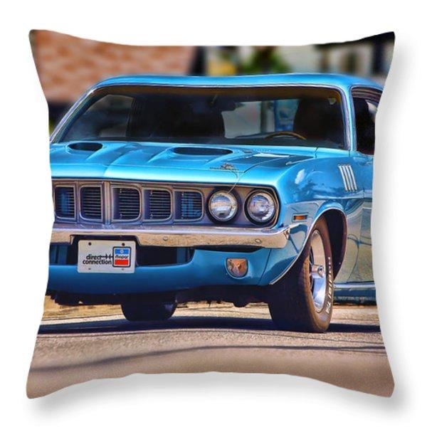 1971 Plymouth 'cuda 383 Throw Pillow by Gordon Dean II