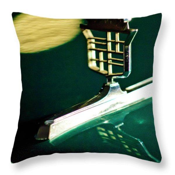 1976 Cadillac Fleetwood Hood Ornament Throw Pillow by Jill Reger