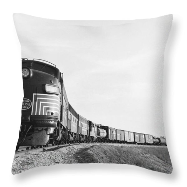 Historic Freight Train Throw Pillow by Omikron