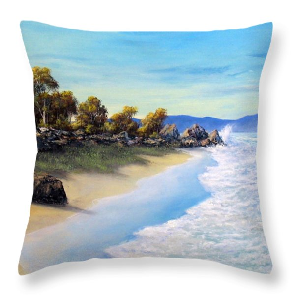 Surf Surge Throw Pillow by John Cocoris