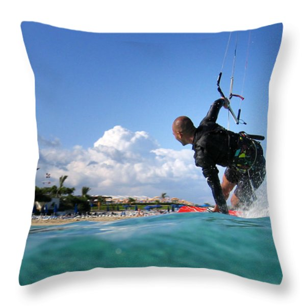 Kitesurfing Throw Pillow by Stylianos Kleanthous