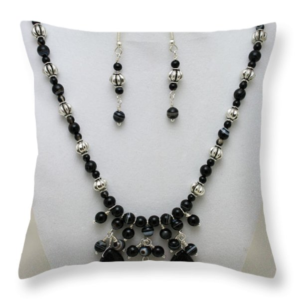 3601 Black Banded Onyx Necklace And Earrings Throw Pillow by Teresa Mucha