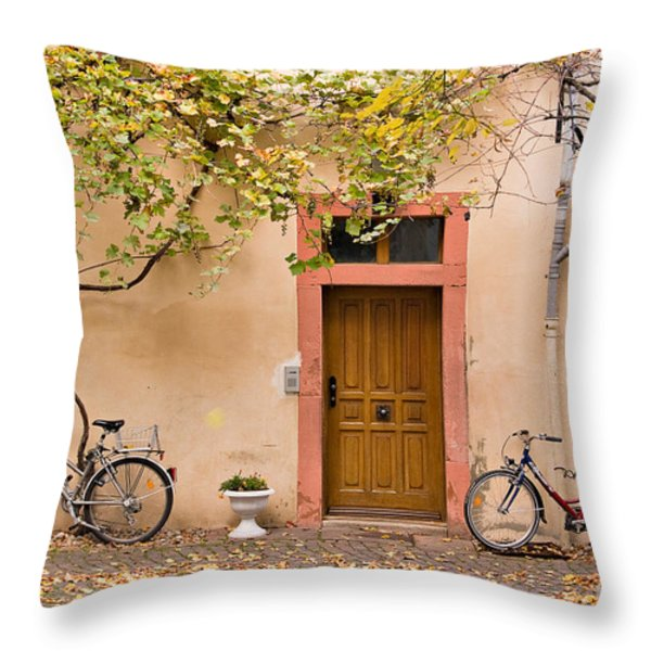 A Back Lane In Speyer Throw Pillow by Louise Heusinkveld