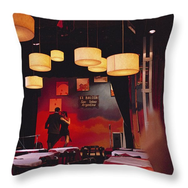 A Couple Dances The Tango At A Club Throw Pillow by Pablo Corral Vega