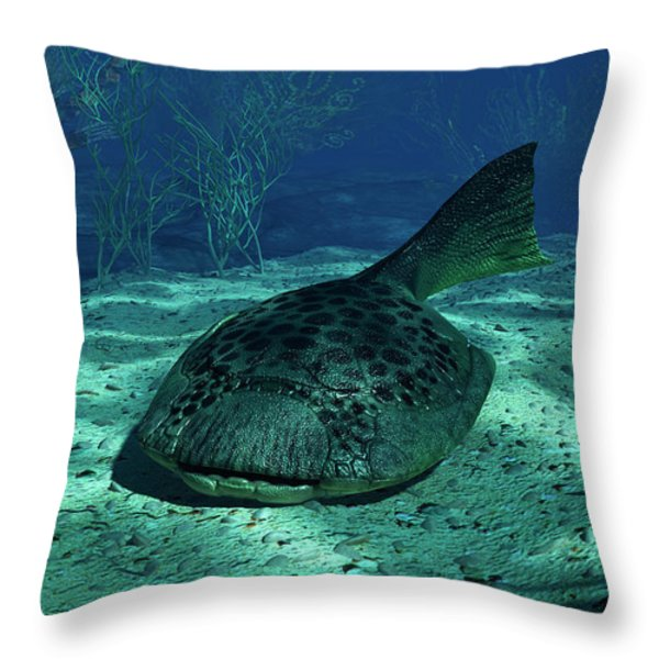 A Drepanaspis On The Bottom Throw Pillow by Walter Myers
