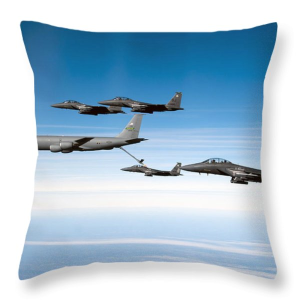 A F-15e Strike Eagle Is Refueled Throw Pillow by Stocktrek Images