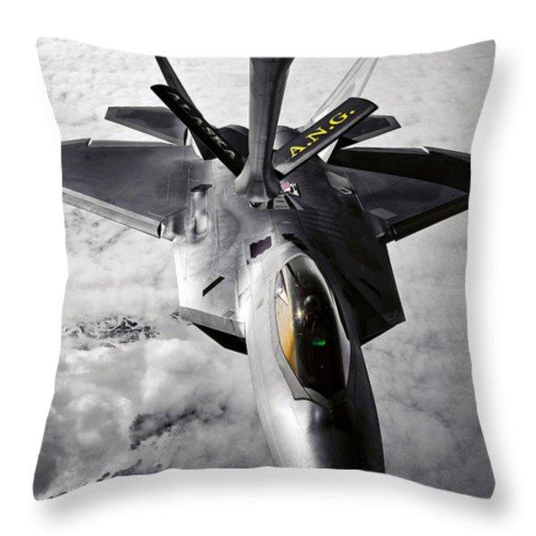 A Kc-135 Stratotanker Refuels A F-22 Throw Pillow by Stocktrek Images