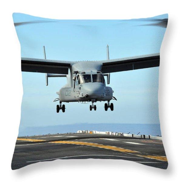 A Mv-22 Osprey Aircraft Prepares Throw Pillow by Stocktrek Images