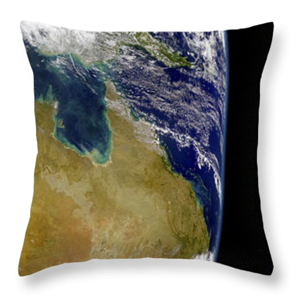 A Partial View Of Earth Showing Throw Pillow by Stocktrek Images