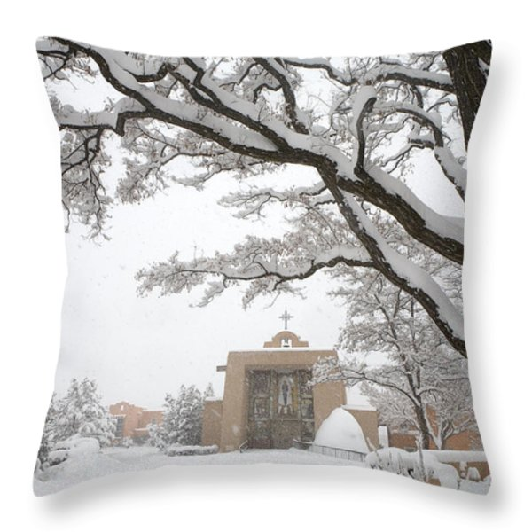 A Peaceful Winter Scene Throw Pillow by Ralph Lee Hopkins