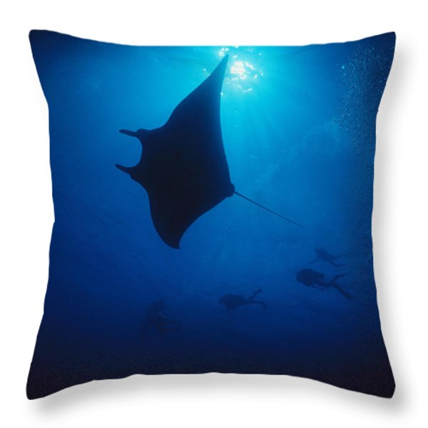 A Silhouetted Manta Ray Swims In Deep Throw Pillow by Raul Touzon