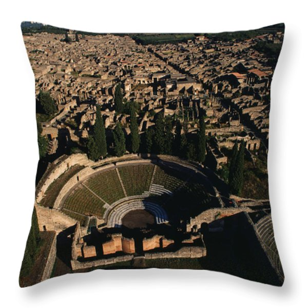 A View Over Pompeii Toward Mount Throw Pillow by O. Louis Mazzatenta