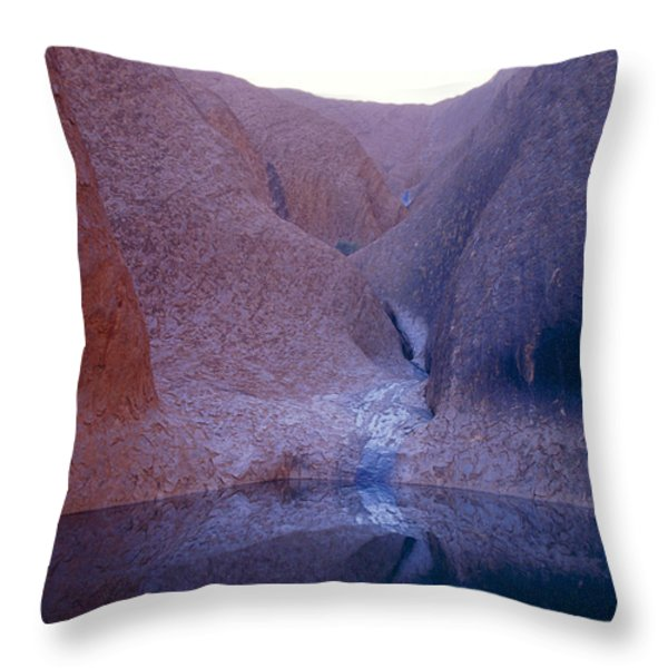 A Waterhole Oasis And Aboriginal Sacred Throw Pillow by Jason Edwards