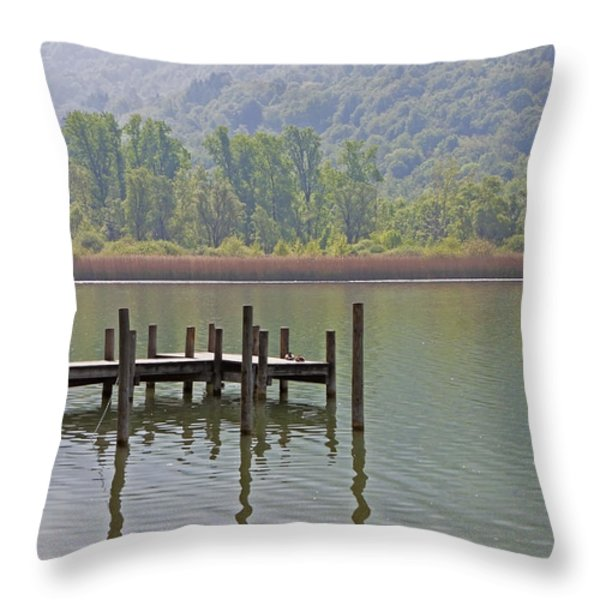A Wooden Pier At A Small Lake Throw Pillow by Joana Kruse