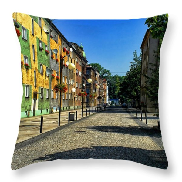 Abandoned Street Throw Pillow by Mariola Bitner