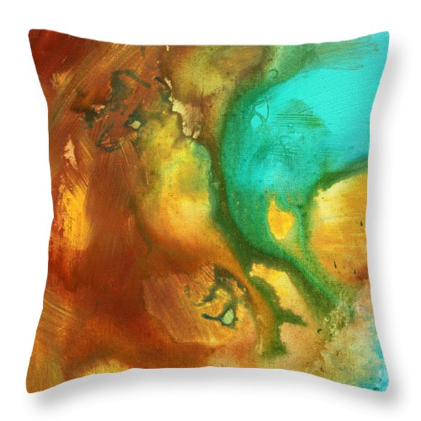 Abstract Art Colorful Turquoise Rust River Of Rust I By Madart  Throw Pillow by Megan Duncanson